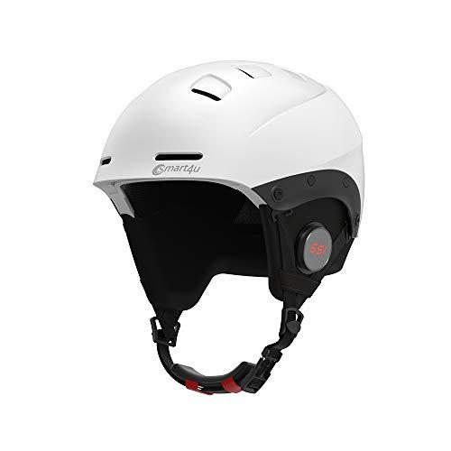 Douerge Winter-Snowboardhelm Bluetooth-Musik-Sturzhelm Wasserdichter EPS-Motorradhelm Anrufbeantworter, für Multi-Sports,Weiß,S(20.5into22in)