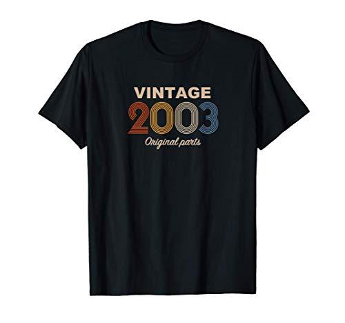 Retro 18 Años Nacido en 2003 Original Parts 18 Cumpleaños Camiseta