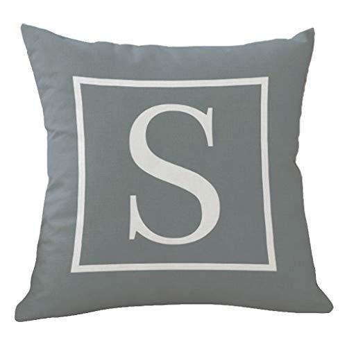 menitn funda de cojín gris 45x 45suave con letras blancas Decoration casa salón dormitorio para sofá, asiento de coche 45x 45cm, S, 45_x_45_cm