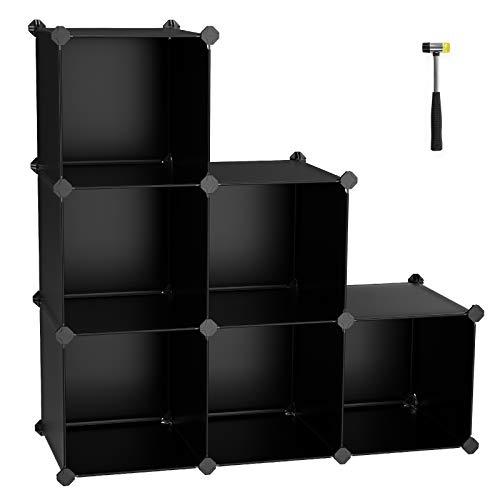 SONGMICS Cube Storage Organizer, 6-Cube Closet Storage Shelves, DIY Plastic Closet Cabinet, Modular Bookcase, Storage Shelving for Bedroom, Living room , Office, Black with Rubber Hammer Black ULPC06H
