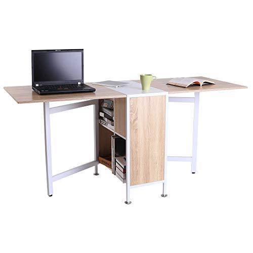 HOMCOM Klapptisch Esstisch Beistelltische Ablagefläche für Wohnzimmer Küche Eiche Holz Metallrahmen Natur+Weiß 169 x 62 x 75 cm