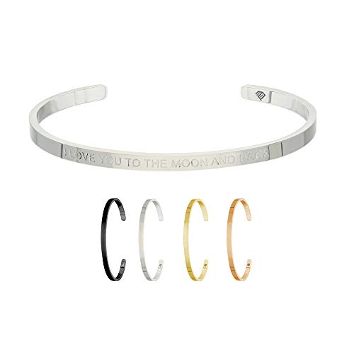 Max Palmer | Armband/Armreif mit Spruch - Gravur I Love You to The Moon and Back [01.] - Silber