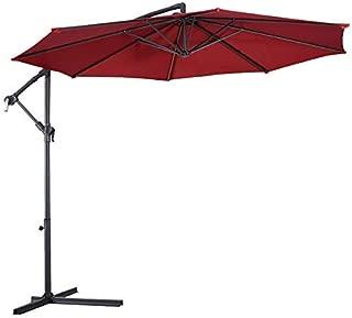 Tangkula Patio Umbrella 10ft Outdoor Sun Shade Umbrella Hanging Offset Crank W/Corss Base 8 Rips Steel Sturdy Frame Table Umbrella for Garden Pool Deck Market Umbrella (Burgundy)