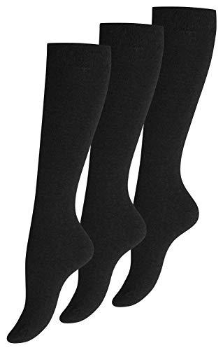 Yenita 3 Paar Damen Kniestrümpfe schwarz Uni, Baumwolle, Gr. 39-42