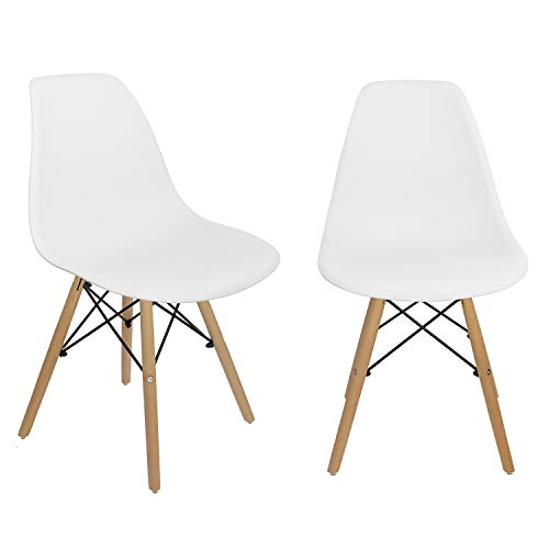 Bravich White Retro Scandinavian Dining Chairs | Office Chair | Lounge Chairs | Modern Durabale Chairs With Solid Wooden Beech Legs | (Pack Of 2 White Chair)