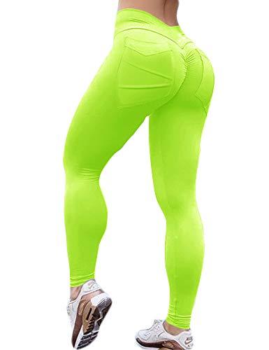 HIOINIEIY Women's Scrunch Ruched Butt Lifting Booty Enhancing Leggings High Waist Push Up Yoga Pants with Pockets Neon Green M