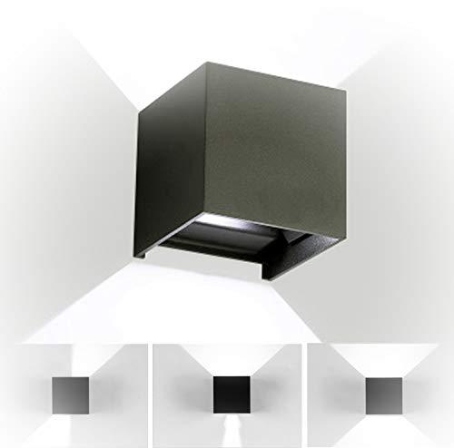 12W LED Apliques De Pared Modernos,Lamparas de Pared impermeable PI65 con Luz Blanco Frío Universal para Decoración de Casa Jardín de Lluminación de Exterior y Lluminación de Interior (Negro)