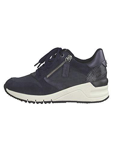 Tamaris Femme Chaussures à Lacets 23702-24, Dame Chaussures de Sport,Chaussure Basse,Semelle de Plate-Forme,Navy Comb,37 EU / 4 UK