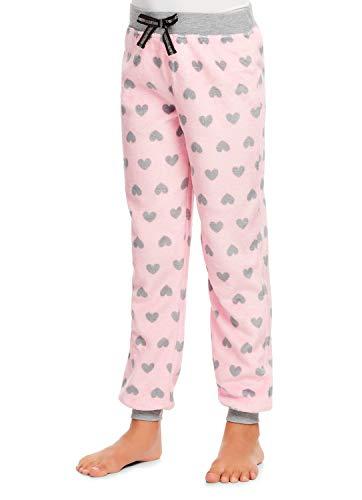 Girls Plush Pajama Bottoms - Fleece Snowflake Print Jogger Sleep Pants - S