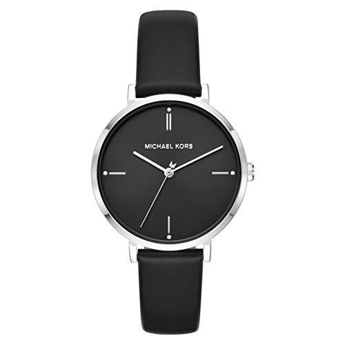 Michael Kors Jayne Reloj para Mujer con Caja en Acero Inoxidable y Correa de Cuero Negro MK7104