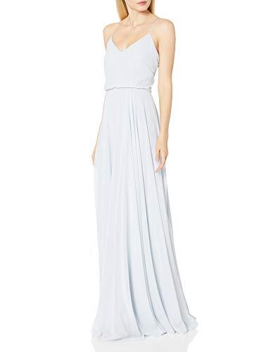 Jenny Yoo Women's Inesse Thin Strap V Neck Long Chiffon Gown, Whisper Blue, 12
