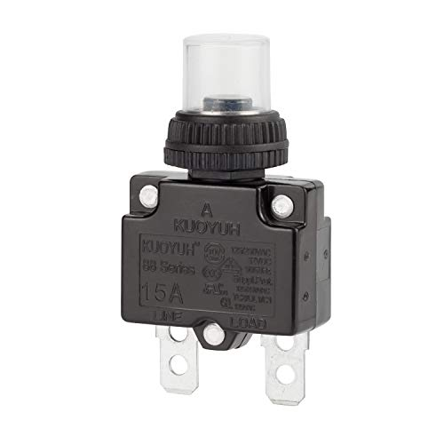 DIYhz 15Amp Circuit Breakers Thermal Overload Switch Protector 88 Series Manual Push Button Reset with Quick Connect Terminals and Waterproof Button Cap 32VDC or 125/250VAC