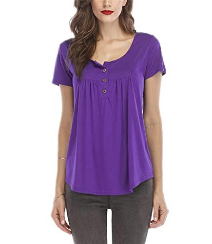 Camisa Mujer Top Mujer Dulce Color Puro Clásico Todo-Fósforo Cuello Redondo Mangas Cortas Vacaciones De Verano Fecha Informal Elegante Mujer Blusa F-Purple M