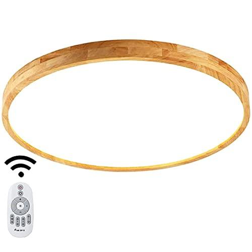 Moderno LED Lámpara de plafón de madera maciza con control remoto, iluminación interior Regulable Lámpara redonda roble ultrafina lámpara de araña para sala de estar comedor con función de atenuación