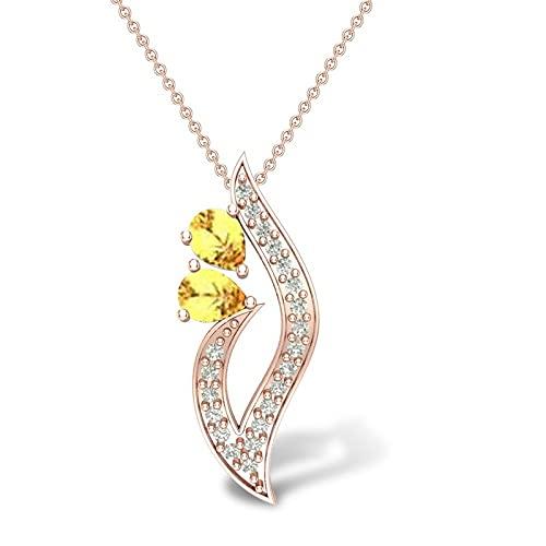 Colgante de diamantes y citrino de 14 quilates con certificación IGI/IGLI de 0,1 quilates (color IJ, claridad I1-I2) de 18 quilates y oro rosa, regalo para mujeres y niñas de Dishis Designer Jewellery