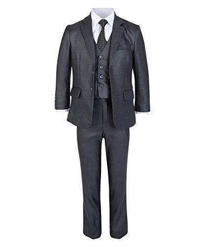 LOTMART Jungen 5 Stück Formeller Anzug Jacke Weste Krawatte Shirt Hosen Hochzeit Party und gratis Geschenk Promotion Stift mit jeder Päckchen - Dunkelgrau, 146