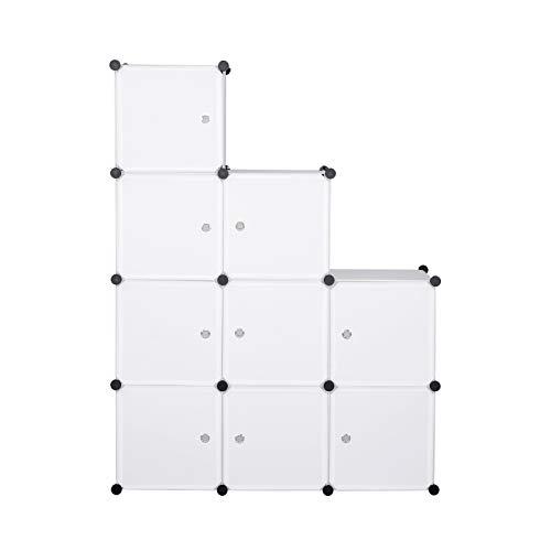 eSituro SGR0030 Armoire avec Penderie Modulable 9 Cubes avec Portes, Étagère de Rangement en Plastique. DIY, Blanc