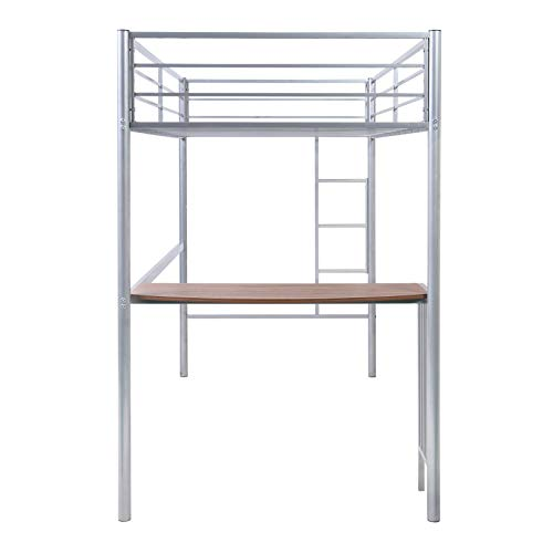 Metal Loft Bed, Twin Loft Bed with Ladder, Guardrails and Desk, No Box Spring Needed, Silver