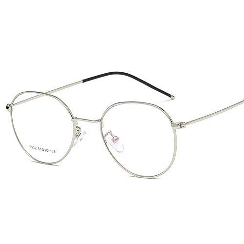 P-WEIAN Exquise bril, ultralicht, modieus frame, van metaal, spiegelend, plat, unisex, brilmontuur Cadre argenté