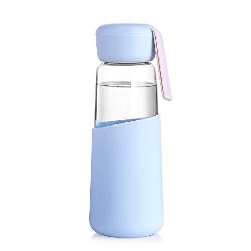 Flesje glas waterfles 400ml lekvrij ideaal voor school Thuis Office Reizen Sport Yoga Gym Hot koude dranken met draagmouw