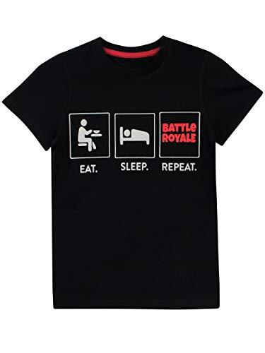 Battle Royale Battle Royale Jungen Videospiel T-Shirt Schwarz, 128 (Herstellergröße: 7 - 8 Jahre)