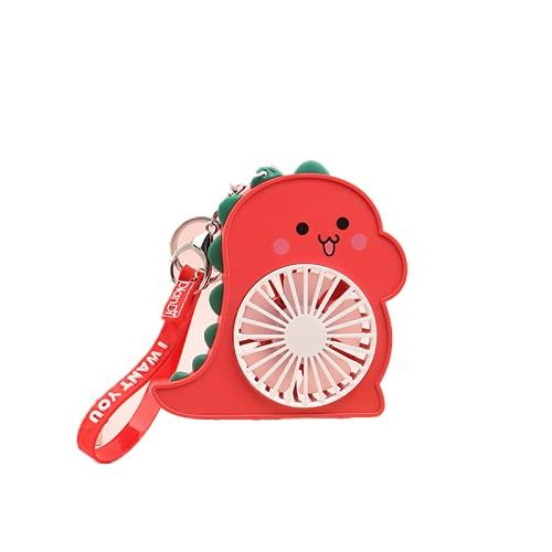 CHENXTT Mini ventilador de mano portátil de 2 velocidades para coche, exterior, deporte, oficina, viajes, verano, dinosaurio, con luz nocturna, USB, pequeño ventilador rojo, 4,3 x 1,4 x 4,3 pulgadas