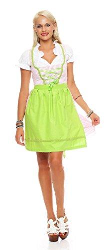 Fashion4Young N10590 Damen Dirndl 3 TLG.Trachtenkleid Kleid Bluse Schürze Oktoberfest (38, rosa-Weiss)