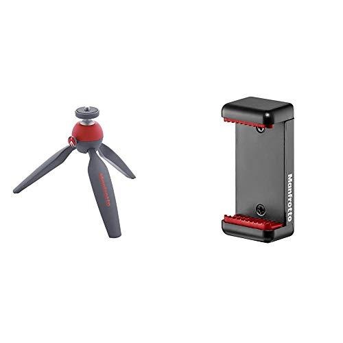 Manfrotto MTPIXI-RD Pixi Tischstativ, rot (Standard Edition) &  MCLAMP  Smartphone Halterung schwarz