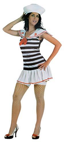 Brandsseller Damen Karneval Kostüm Matrosin mit Mütze Maritime Party Verkleidung Weiß/Blau/Gestreift 44/46