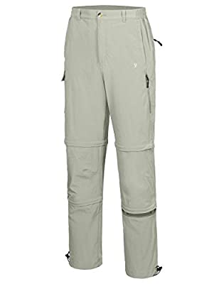 Little Donkey Andy Men's Stretch Convertible Pants, Zip-Off Quick-Dry Hiking Pants, UV Protection, Lightweight Khaki Size XL