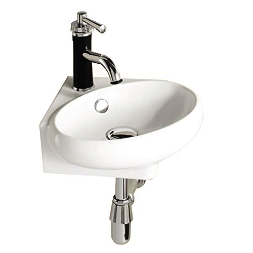 Corner Ceramic Cloakroom Basin Wall Hung Bathroom Sink 1TH with Overflow /& Tap