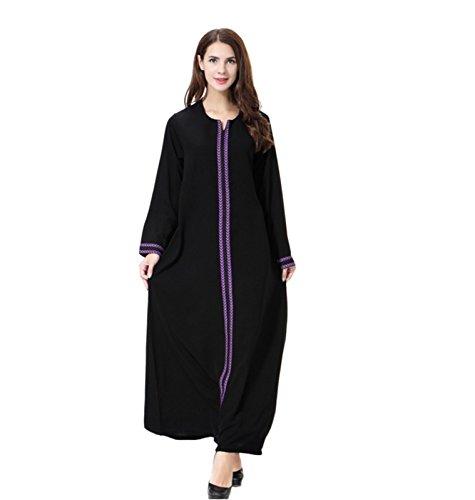 Dreamskull Damen Frauen Muslim Abaya Dubai Muslimische Kleid Kleidung Winter Kleider Arab Arabisch Indien Türkisch Casual Abendkleid Hochzeit Kaftan Robe Maxikleid S-3XL (Violett, XXXL)