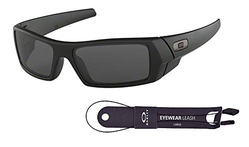 Oakley Gascan OO9014 03-473 61M Matte Black/Grey Sunglasses For Men +BUNDLE with Oakley Accessory Leash Kit.