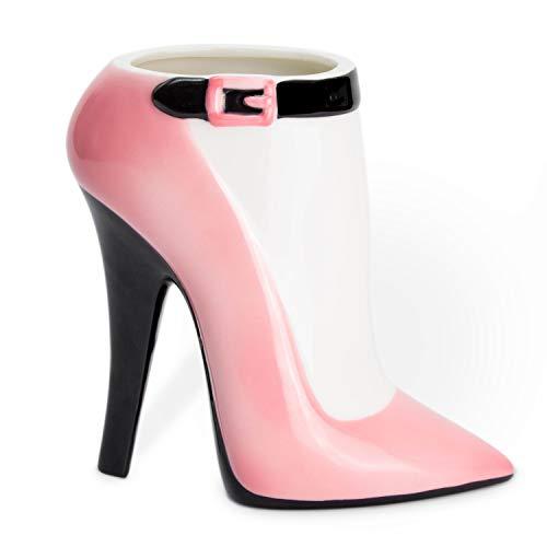 el & groove 3D Porzellan High Heel groß pink schwarz, Kaffee-Tasse 350 ml (450ml randvoll), Tee-Tasse Stiletto aus Porzellan in pink schwarz, Schminktisch Halter Deko Geschenke für Frauen und Mädchen