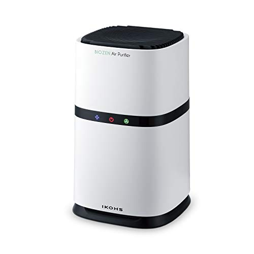 IKOHS BIOZEN - Purificador Aire, Aire Limpio de 100m³/h, Velocidad Ajustable 3 Niveles, hasta 12m², Dispone de Modo Noche, Indicador Inteligente de Cambio de Filtro Hepa, Filtro de carbón Activo
