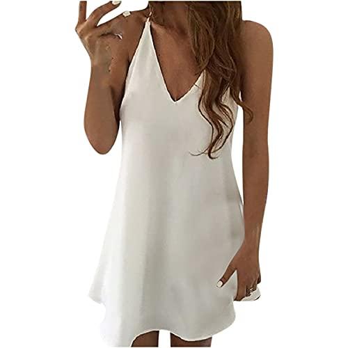 Vestido de verano para mujer, casual, vestidos de playa, de moda, casual, con cuello en V, sin mangas, holgado, suelto, suelto, suelto, suelto, suelto, vestido de tirantes