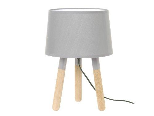 Leitmotiv LM1042 Lampe de Table Bois Abat Jour Gris Clair 22,5 x 25 cm