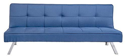 Enrico Coveri Contemporary Divano Letto Blu 3 posti Elegante con Funzione Letto in Tessuto, Dimensioni: 175 x 83 x 75 cm