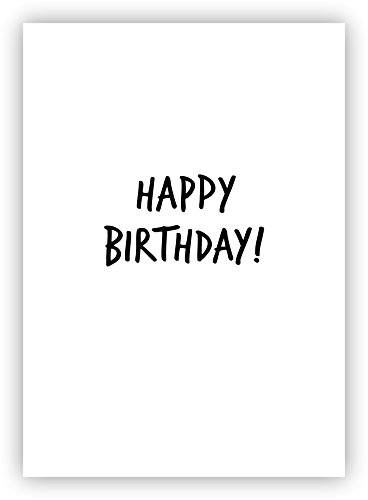 """5 Stück - Moderne Geburtstagskarte """"Happy Birthday"""" - inkl. Umschlag (schwarz / weiß, DIN A6)"""