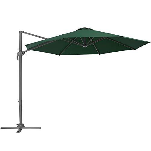 TecTake 800684 Aluminium Garten Sonnenschirm mit Seitenmast und Kurbel, inkl. Ständer, höhenverstellbar, klappbar, UV-Schutz 50+, Ø 300 cm - Diverse Farben – (Grün   Nr. 403134)