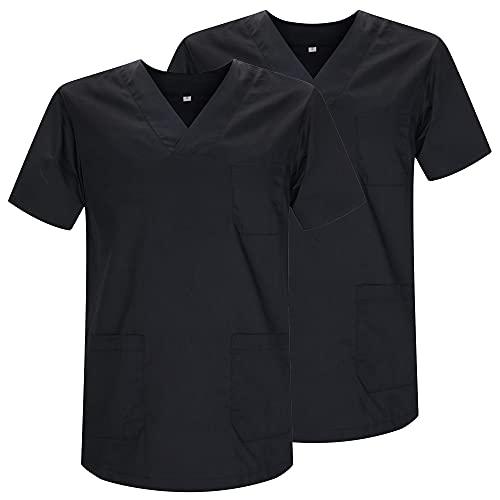 MISEMIYA - Pack*2 - Casaca Sanitarios Unisex Uniformes Sanitarios Cuello Pico Mangas Cortas Uniformes Laboratorios - Ref.817 * 2 - L, Negro
