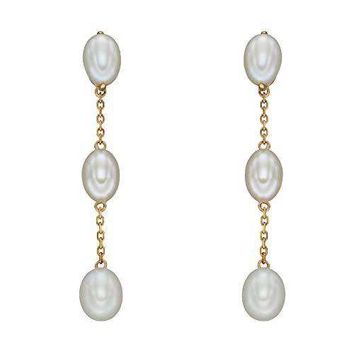 Elements Gold Pendientes colgantes de oro amarillo de 9 quilates con perlas de agua dulce y cadena con poste y mariposa
