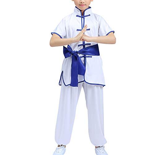 Yudesun Kampfsport Bekleidung Kind Trainingsbekleidung Sets - Chinesische Tradition Tai Chi Kung Fu Taekwondo Training Uniformen Mädchen Jungen Aufführung Kostüme Weiß 100cm
