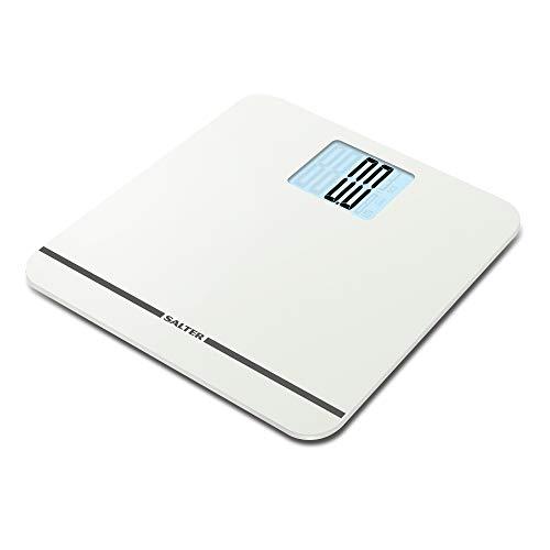 SALTER MAX Personen-/Digitalwaage, mit 250 kg Kapazität, leicht lesbare Anzeige, große Plattform, Step-On für sofortige Gewichtsablesung, Teppichfüße für unebene Böden, weiß