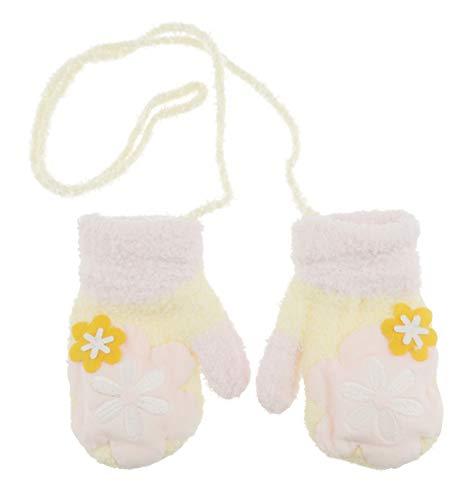 Glamour Girlz Adorabile Super Soft Baby Girls Boys Warm Winter Mittens 1-2 anni (giallo fiore rosa)