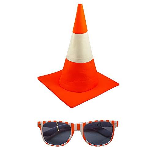 Partybob Leitkegel Kostüm Accessoires - Pylonen Hut + Brille