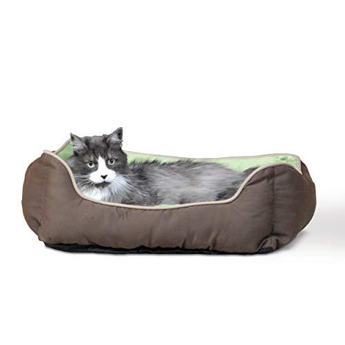 Self-Warming Lounge Sleeper Pet Bed, Mocha/Green, Small