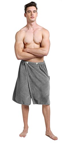 Sinland Microfiber Men's Spa Wrap Towel Bath Towel with Adjustable Closure 24inch x 63inch Grey