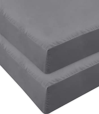 Utopia Bedding Fitted Sheet - Pack of 2 Bottom Sheets - Soft Brushed Microfiber - Deep Pockets, Shrinkage & Fade Resistant - Easy Care (Queen, Grey)