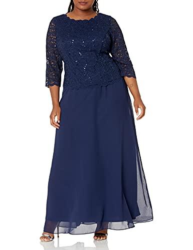 Alex Evenings Vestido largo de encaje para mujer talla grande, vestido de encaje de talla grande y largo, Sky